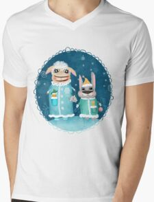 Funny postcard with sheep and rabbit Mens V-Neck T-Shirt