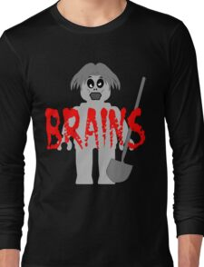 "Zombie Minifig ""BRAINS"", by Customize My Minifig Long Sleeve T-Shirt"