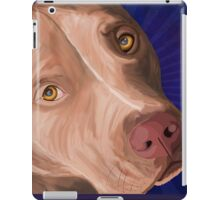 Red Nose Pit Bull Painted on Blue Background iPad Case/Skin