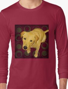 Blond Labrador Mix on Burgndy and Sage Back Long Sleeve T-Shirt