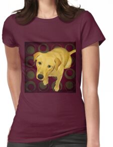 Blond Labrador Mix on Burgndy and Sage Back Womens Fitted T-Shirt