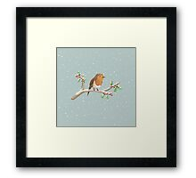 Robin on Branch Framed Print