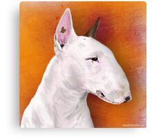 Bull Terrier Painting on Orange Background Canvas Print