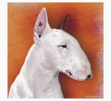 Bull Terrier Painting on Orange Background Kids Tee