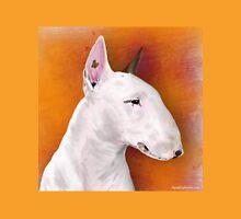 Bull Terrier Painting on Orange Background Unisex T-Shirt