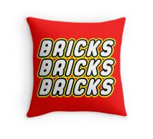 BRICKS BRICKS BRICKS, by Customize My Minifig Throw Pillow