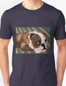 Brown and White Bulldog Lying, Blue & Yellow Back T-Shirt