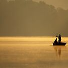 Anglers Fishing on a Lake by Michael Mill