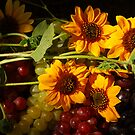 Sunflowers and Grapes by Karin  Hildebrand Lau