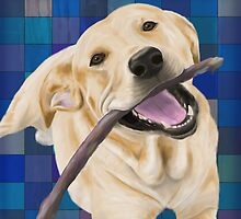 Blond Labrador Smiling with Joy, Chewing a Stick by ibadishi