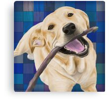 Blond Labrador Smiling with Joy, Chewing a Stick Canvas Print