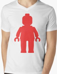 Minifig [Large Red] Mens V-Neck T-Shirt
