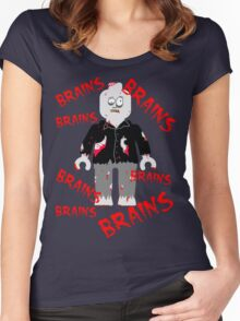 A LOT OF BRAINS - ZOMBIE MINIFIG Women's Fitted Scoop T-Shirt