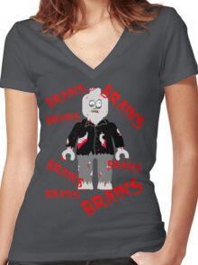 A LOT OF BRAINS - ZOMBIE MINIFIG Women's Fitted V-Neck T-Shirt