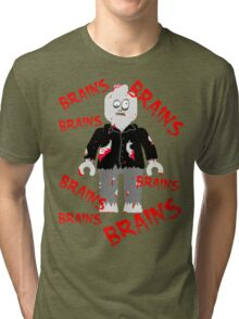 A LOT OF BRAINS - ZOMBIE MINIFIG Tri-blend T-Shirt