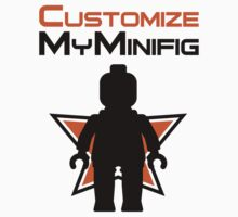 Black Minifig Standing, in front of Customize My Minifig Logo by ChilleeW