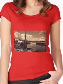 Fishing boats in a port Women's Fitted Scoop T-Shirt