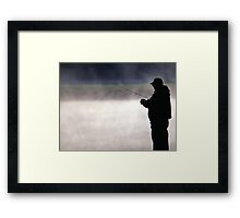 Trout Fisherman by a Misty Lake Framed Print
