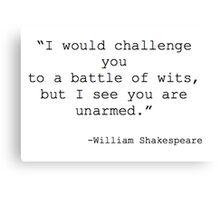 William Shakespeare Quote Canvas Print