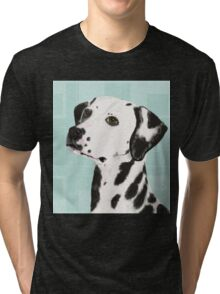 Dalmatian with Honey Eyes on Light Green Back Tri-blend T-Shirt
