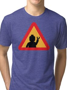 Minifig Triangle Road Traffic Sign Tri-blend T-Shirt