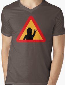 Minifig Triangle Road Traffic Sign Mens V-Neck T-Shirt
