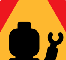 Minifig Triangle Road Traffic Sign Sticker