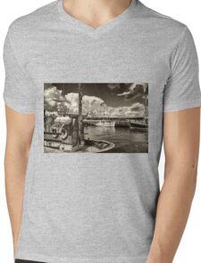 Fishing boats in a port Mens V-Neck T-Shirt