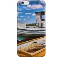 Fishing boat on the beach iPhone Case/Skin