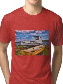 Fishing boat on the beach Tri-blend T-Shirt