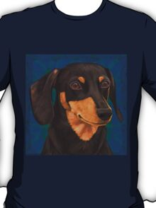 Black and Gold Dachshund Portrait on Blue T-Shirt