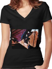 Old rust boat restoration Women's Fitted V-Neck T-Shirt