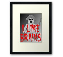 "Zombie Minifig ""I LIKE BRAINS"", by Customize My Minifig Framed Print"