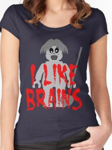 "Zombie Minifig ""I LIKE BRAINS"", by Customize My Minifig Women's Fitted Scoop T-Shirt"