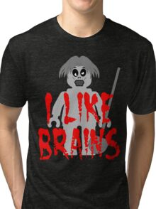 """Zombie Minifig """"I LIKE BRAINS"""", by Customize My Minifig Tri-blend T-Shirt"""