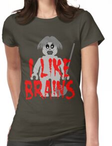"""Zombie Minifig """"I LIKE BRAINS"""", by Customize My Minifig Womens Fitted T-Shirt"""