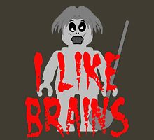 "Zombie Minifig ""I LIKE BRAINS"", by Customize My Minifig Womens Fitted T-Shirt"