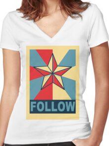 FOLLOW Women's Fitted V-Neck T-Shirt