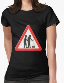 Elderly people getting jiggy with it sign Womens Fitted T-Shirt