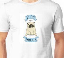 PUGS NOT DRUGS (blue) Unisex T-Shirt