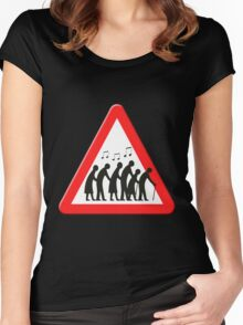 Elderly people getting jiggy with it sign Women's Fitted Scoop T-Shirt