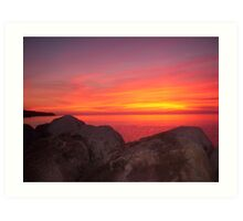 Sunset at Halls Harbour Art Print