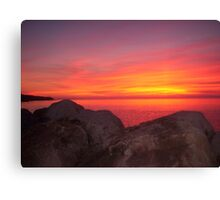 Sunset at Halls Harbour Canvas Print