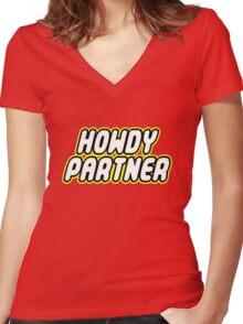 HOWDY PARTNER Women's Fitted V-Neck T-Shirt