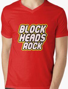 BLOCK HEADS ROCK Mens V-Neck T-Shirt