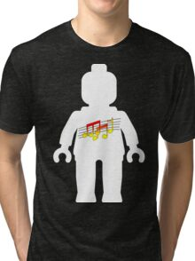 White Minifig with Music Log, Customize My Minifig Tri-blend T-Shirt
