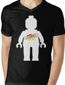White Minifig with Music Log, Customize My Minifig Mens V-Neck T-Shirt