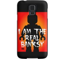 "Black Minifig with ""I am the Real Banksy"" slogan, Customize My Minifig Samsung Galaxy Case/Skin"