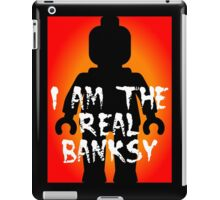 """Black Minifig with """"I am the Real Banksy"""" slogan, Customize My Minifig iPad Case/Skin"""