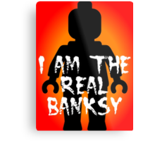 "Black Minifig with ""I am the Real Banksy"" slogan, Customize My Minifig Metal Print"